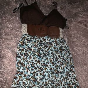Brown, white and blue babydoll shirt